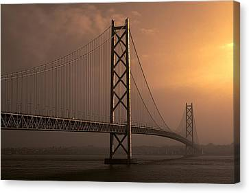 Akashi Kaikyo Bridge Osaka Bay Canvas Print by Daniel Hagerman