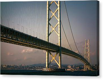 Akashi Kaikyo Bridge Sunset Canvas Print by Daniel Hagerman