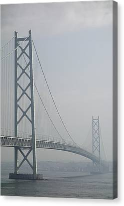 Akashi Kaikyo Suspension Bridge Of Japan Canvas Print by Daniel Hagerman