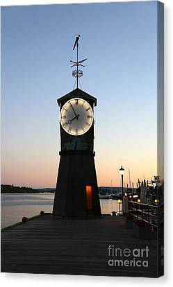 Aker Brygge Clock Tower At Sunset Canvas Print by Carol Groenen