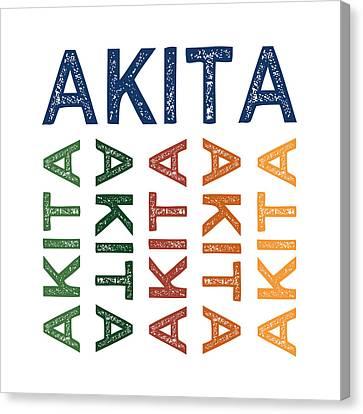 Akita Cute Colorful Canvas Print