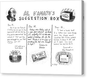 Grocery Store Canvas Print - Al D'amato's Suggestion Box by Roz Chast
