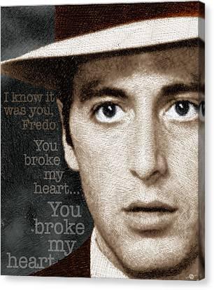 Al Pacino As Michael Corleone And Fredo Quote Canvas Print