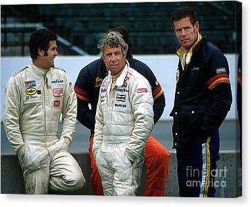 Al Unser Sr. Gordon Johncock And Bobby Unser Together At Indy Canvas Print