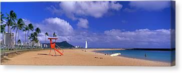Ala Moana Beach Honolulu Hi Canvas Print by Panoramic Images
