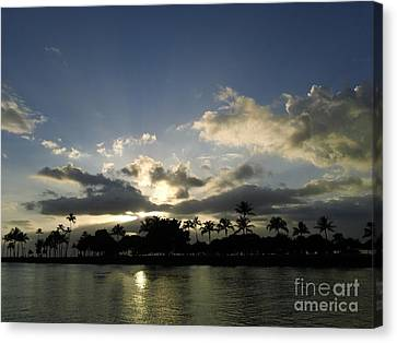 Canvas Print featuring the photograph Ala Wai Skies by Laura  Wong-Rose