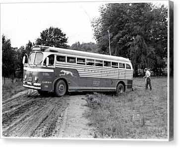 Alabama Bus In Trouble 1953 Canvas Print