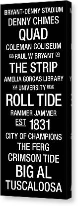 Alabama College Town Wall Art Canvas Print