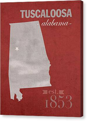Alabama Crimson Tide Tuscaloosa College Town State Map Poster Series No 008 Canvas Print by Design Turnpike