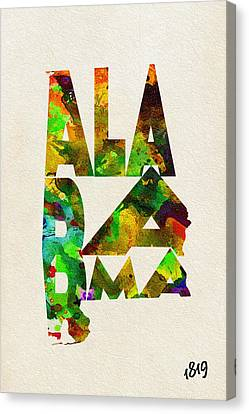 Alabama Typographic Watercolor Map Canvas Print