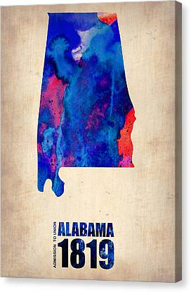 Alabama Watercolor Map Canvas Print by Naxart Studio