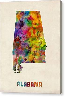 Alabama Canvas Print - Alabama Watercolor Map by Michael Tompsett