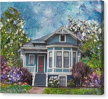 Alameda 1884 - Eastlake Cottage Canvas Print by Linda Weinstock