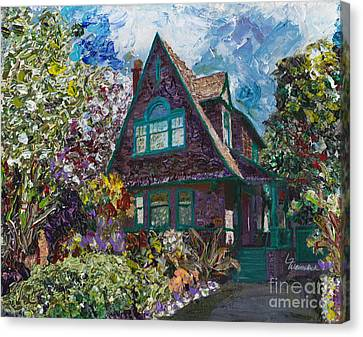 Alameda 1907 Traditional Pitched Gable - Colonial Revival Canvas Print by Linda Weinstock