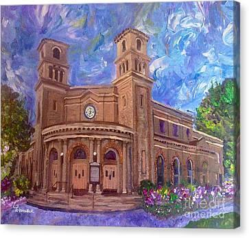 Alameda 1909  Twin Towers Church - Italian Renaissance  Canvas Print by Linda Weinstock