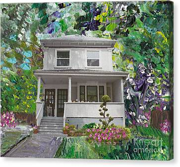 Canvas Print featuring the painting Alameda 1933 Duplex - American Foursquare  by Linda Weinstock