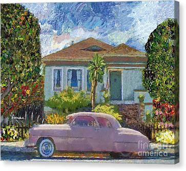 Alameda 1908 House 1950 Pink Dodge Canvas Print by Linda Weinstock