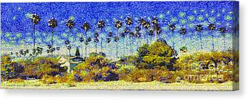 Alameda Famous Burbank Palm Trees Canvas Print by Linda Weinstock