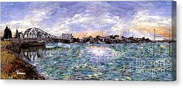 Canvas Print featuring the painting Alameda High Street Bridge  by Linda Weinstock