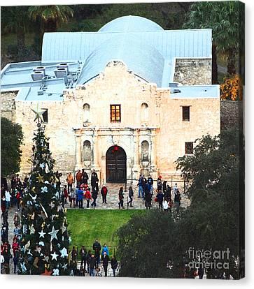 Alamo Entrance High Angle View At Christmas In San Antonio Texas Square Format Film Grain Digital Ar Canvas Print