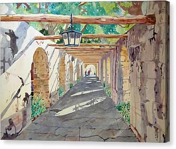 Alamo Walkway Canvas Print by Terry Holliday