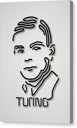 History Of Science Canvas Print - Alan Turing by Ramon Andrade 3dciencia