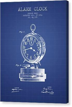 Alarm Clock Patent From 1911 - Blueprint Canvas Print