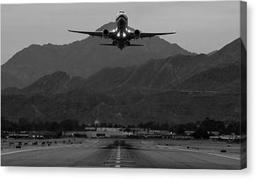 Alaska Airlines Palm Springs Takeoff Canvas Print by John Daly