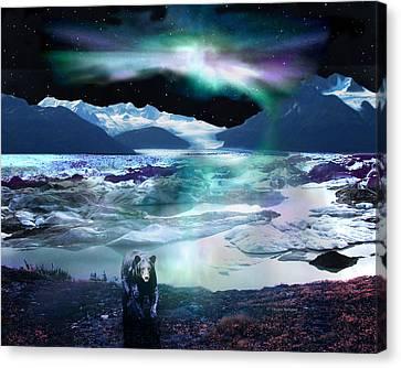 Alaska Aurora Knik Glacier Bear Canvas Print by Dianne Roberson