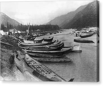 Canvas Print featuring the photograph Alaska Canoes, C1897 by Granger