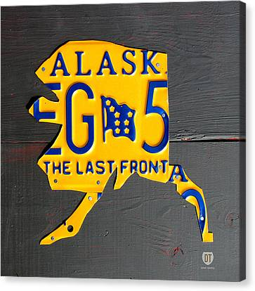 Alaska License Plate Map Artwork Canvas Print by Design Turnpike