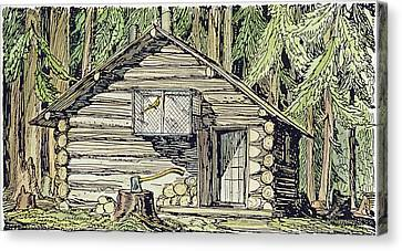 Alaska Log Cabin, 1920 Canvas Print by Granger