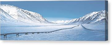 Alaska Pipeline Brooks Range Ak Canvas Print by Panoramic Images