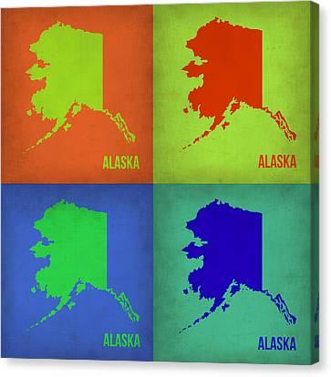 Alaska Pop Art Map 1 Canvas Print by Naxart Studio