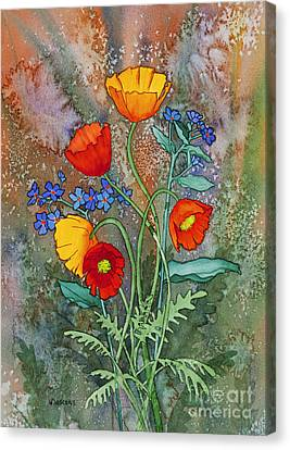 Alaska Poppies And Forgetmenots Canvas Print by Teresa Ascone