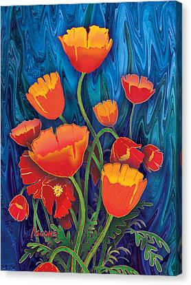 Canvas Print featuring the mixed media Alaska Poppies by Teresa Ascone