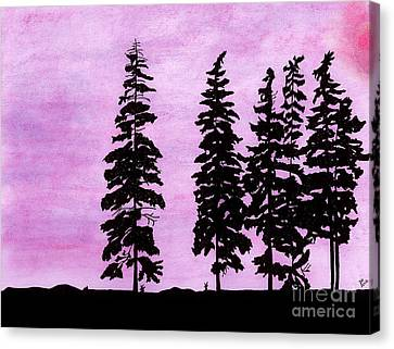 Canvas Print featuring the drawing Colorful - Alaska - Sunset by D Hackett