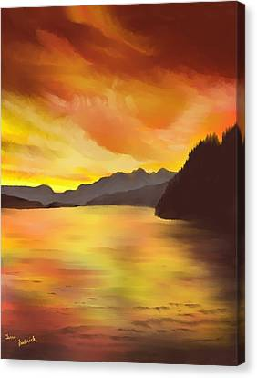 Canvas Print featuring the painting Alaska Sunset by Terry Frederick