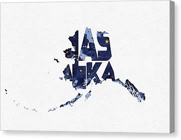 Alaska Typographic Map Flag Canvas Print by Ayse Deniz