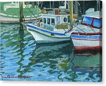 Alaskan Boats In Rippling Water Canvas Print by Shalece Elynne