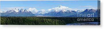 Alaskan Denali Mountain Range Canvas Print by Jennifer White