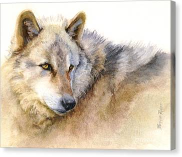 Canvas Print featuring the painting Alaskan Gray Wolf by Bonnie Rinier