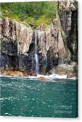 Alaskan Waterfall In The Spring Canvas Print