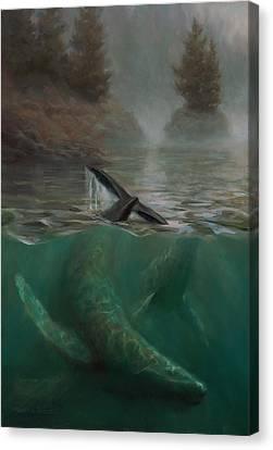Humpback Whales - Underwater Marine - Coastal Alaska Scenery Canvas Print