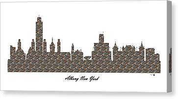 Albany New York 3d Stone Wall Skyline Canvas Print