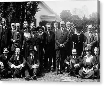 Albert Einstein And Us President Harding Canvas Print by Library Of Congress