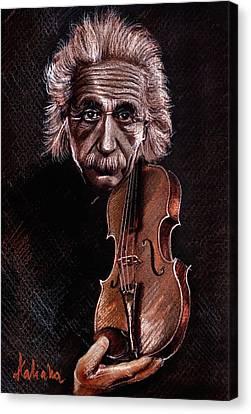 Albert Einstein And Violin Canvas Print by Daliana Pacuraru
