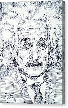 Albert Einstein - Drawing Portrait Canvas Print by Fabrizio Cassetta