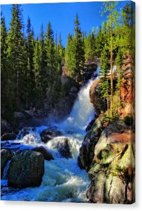 Alberta Falls In Rocky Mountain National Park Canvas Print by Dan Sproul