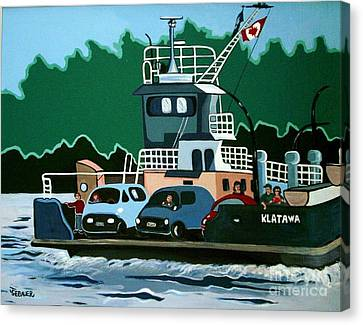 Canvas Print featuring the painting Albion Ferry by Joyce Gebauer